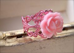 Pink Bling Ring Resin Cabochon Rose Flower Pink by Phoebedreams, £5.00