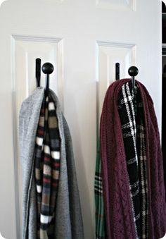 purs, hang scarv, thrifty decor, hooks, curtain tie backs, storage organization, scarf storage, closet, draperi tie