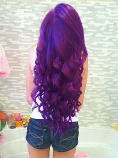 Purple Hair this is what I want in my hair but this girl probably has lighter hair or bleached it all