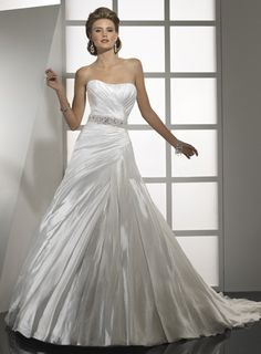 Strapless A-line satin bridal gown $363.00