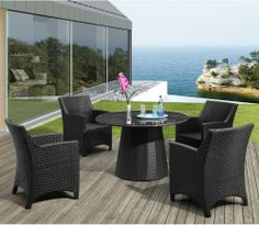 Zuo Modern Adrien Dining Table Set - Seats 4 - Wicker Dining Sets at Hayneedle