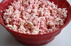 White chocolate and peppermint covered popcorn