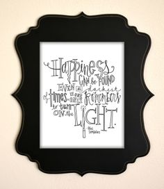 "Harry Potter Albus Dumbledore Quote Print- ""Happiness can be found even in the darkest of times, if one only remembers to turn on the light"""
