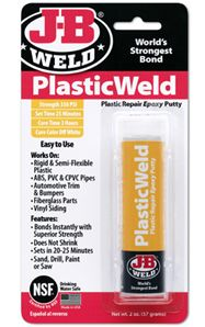 #PlasticWeld is a hand-mixable, fast-setting epoxy putty that forms a durable bond to most major plastic types. *After mixing, it forms a polymer compound that can be molded or used to build up and repair just about anything made from plastic. When cured, it can be sawed, drilled, carved, sanded and painted.   http://www.jbweld.com/product/j-b-plasticweld-putty/