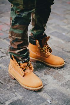 concert outfits, shoes, timberland, swag, cloth, style, men fashion, camouflage, combat boots
