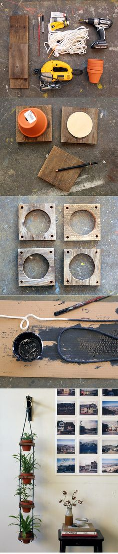 DIY ::  TIERED HANGING POTS ( http://www.designsponge.com/2012/10/diy-project-tiered-hanging-pots.html )