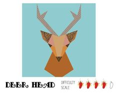Deer Head paper pieced quilt block - via @Craftsy