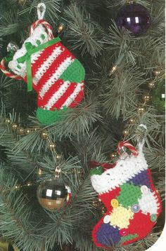 Crochet Pattern for COUNTRY CHRISTMAS STOCKING ORNAMENTS