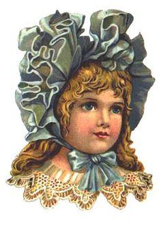 Pretty Victorian girl in ruffled bonnet