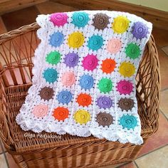 Bright Dots Baby Blanket made by Soleil. Links in post for the pattern, the joining and the border.
