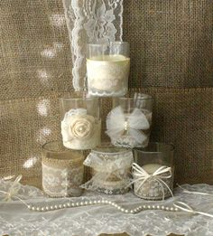 Burlap and lace and pearl wedding tea candles