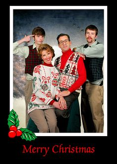 "it would be fun to do an ""ugly tie/sweater"" christmas shoot for a cool family who wanted a nerdy card"