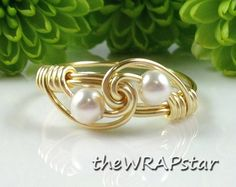 Pearl Jewelry Gold Ring White Pearl Ring Wire Jewelry Handmade Wire Wrapped Jewelry Gold Wire Ring Wire Wrap Jewelry  ITEM0329