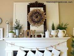 Natural holiday, fireplac, vintage winter, decorating ideas, white christmas, wreath, mantel christma, christmas mantles, christmas mantels