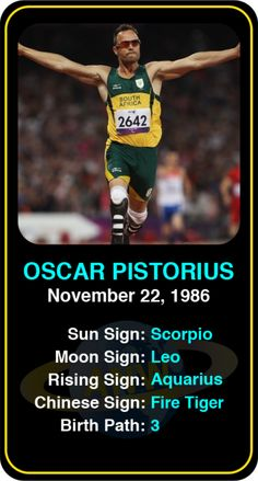 Celeb #Scorpio birthdays: Oscar Pistorius' astrology info! Sign up here to see more: https://www.astroconnects.com/galleries/celeb-birthday-gallery/scorpio?start=150 #astrology #horoscope #zodiac #birthchart #natalchart #oscarpistorius #bladerunner