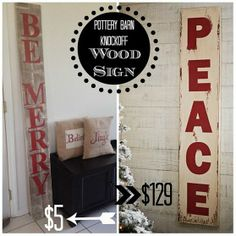 Large Wood Christmas Sign (Pottery Barn Inspired)