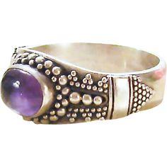 Vintage Size 6.25 Sterling Silver Amethyst Ring