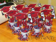 Graduation Centerpieces - Pails, with cap and year decorations