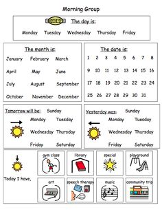 Calendar Worksheet - laminate and use daily with a dry erase marker