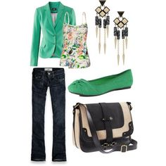 green blazer, casual work outfits, fashion, cloth, summer outfits, casual outfits, earring, women 2013, lolo moda