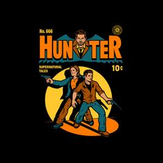 Hunter Comic by harebrained - Shirt sold on October 1st at http://teefury.com - More by the artist at https://www.facebook.com/HarebrainedDesign