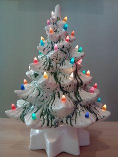 Vintage Ceramic Christmas Tree  White w/Green Colored Bulbs. $60.00, via Etsy.
