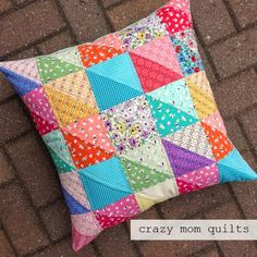 65/101 distressed fabric HSTs pillow