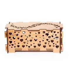 Heart wood night light box lamp trinket storage box in sustainable wood. $89.00, via Etsy.