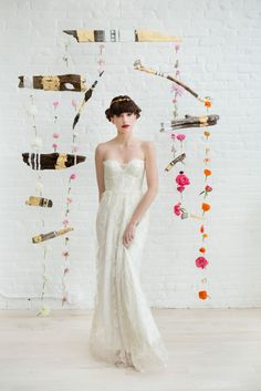 Blythe by Sarah Seven Gold Label at Ceremony bridal shop, Boston. Photography: Kristina Young, Floral Installation: Petal Floral Design, Make-up: Kelly O'Keefe at Tryst Studio, Hair: Stacey Kuehn Hair; Styling: Janine Maggiore