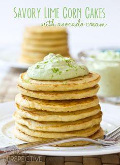 Savory Lime Corn Cakes with Avocado Cream