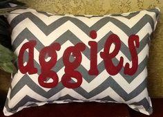 Aggies Stenciled Chevron Pillow