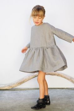 AS WE GROW Pocket Dress Grey  via @deuxpardeuxKIDS