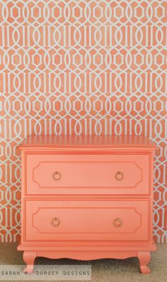 Trellis Reusable Wall Stencil 12x12. $35.00, via Etsy. and look at the color of that dresser