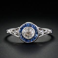 0.40 ct vintage diamonds, sapphires set in platinum, Art Deco ring.