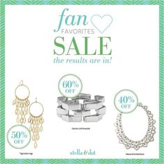 Stella & Dot SALE!! Up to 60% off! Only 48 hours to save BIG!!  Just use this link to start shopping http://www.stelladot.com/ts/zcji5    40% off Alexandria Necklace: $53.40    60% off Garbo Link Bracelet: $31.60    50% off Tigris Earrings: $29.50
