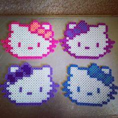 Hello Kitty coasters perler beads by _alexiisniicole_