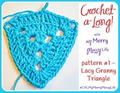 Lacy Granny Triangle - Join the My Merry Messy Life Crochet-a-Long to make a mini project for Valentine's Day!
