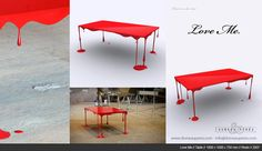 """Paint or Die but Love Me"" Dripping Table (John Nouanesing Studio - Product Design)"