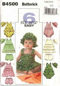 Butterick Sewing Pattern 4500 Infant Baby Size 8-25 lbs Dress Romper Panties Hat Sundress Bubble