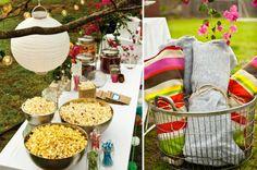 outdoor movie night birthday parties, summer parties, outdoor movie party, movi night, outdoor parties, camping birthday, backyard, popcorn bar, movie nights