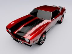1969 Chevrolet Camaro. Deep Red with double black racing stripes. 'nuff said.