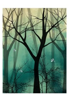 Fantasy Landscape Trees and Dragonflies Art Print  by RusticGoth, $40.00