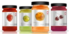 Fabulous jam packaging with droplets of jam as fruit images.