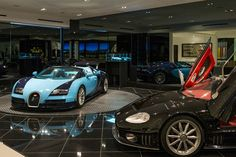 Collector's Personal Car Showroom, complete with turntables - Beverly Hills, California