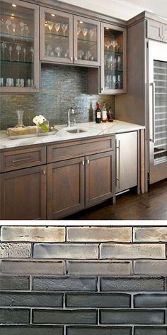 The kitchen backsplash is Walker Zanger Weave glass tile in Shadow Blend.
