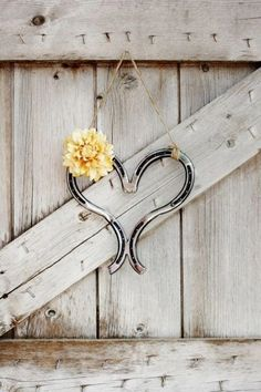 Horseshoe heart decoration  #Rustic #Western #Country #wedding #ideas … Wedding ideas for brides, grooms, parents & planners https://itunes.apple.com/us/app/the-gold-wedding-planner/id498112599?ls=1=8 … plus how to organise an entire wedding, without overspending. More wedding ideas http://pinterest.com/groomsandbrides/boards/ ♥ The Gold Wedding Planner iPhone #App ♥ For more boards #wedding #ceremony #reception #western #rustic #country #bride #bridesmaids #groom #flower #girl #bouquets