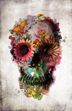 tattoo flowers, skull tattoos, color, flower art, flower skull, thigh, a tattoo, beauty, skull art