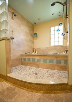 Unique shower/tub combination. Love this! Soak in the bath for a relaxing night, hop in the shower to finish it off!