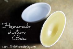 Homemade Lotion Bars. These are the BEST for dry winter skin and skin issues. Plus putting them in this container makes them so easy to apply!