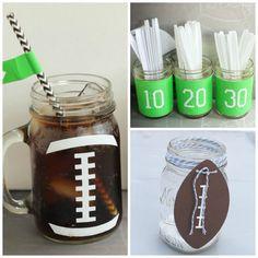 mason jar football party ideas collage ForRent.com #masonjar #football #fall #party